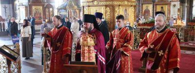 В День памяти святителя Николая Чудотворца епископ Софроний совершил литургию в Спасо-Преображенском кафедральном соборе Губкина