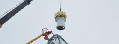 Епископ Губкинский освятил купола строящегося храма в Беленихино