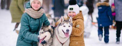 День на природе вместе с собаками хаски провели воспитанники Воскресной школы Смоленского собора