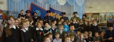 Казаки приехали в гости к второклассникам из православного клуба «Светлица» в Головчино