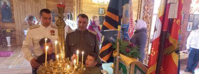 Казаки всех казачьих обществ пришли на праздничное богослужение в храм Рождества Христова в Рождествено