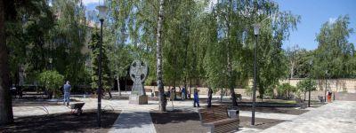 В Белгороде практически заново создали сквер у Поклонного креста Кириллу и Мефодию