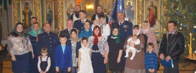 Сына атамана прохоровских казаков крестили в Свято-Сергиевском храме